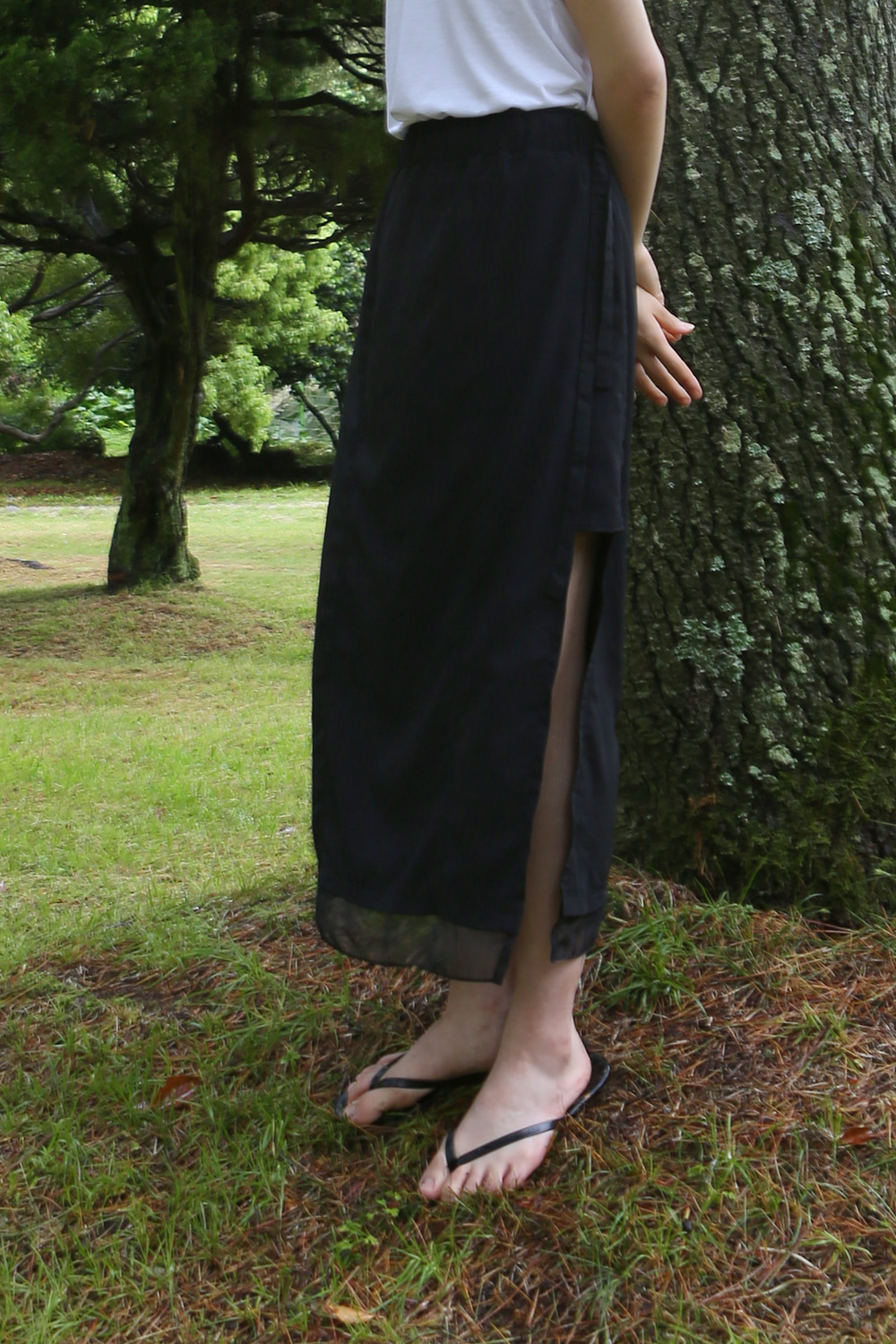 Layered Banding Skirt Black