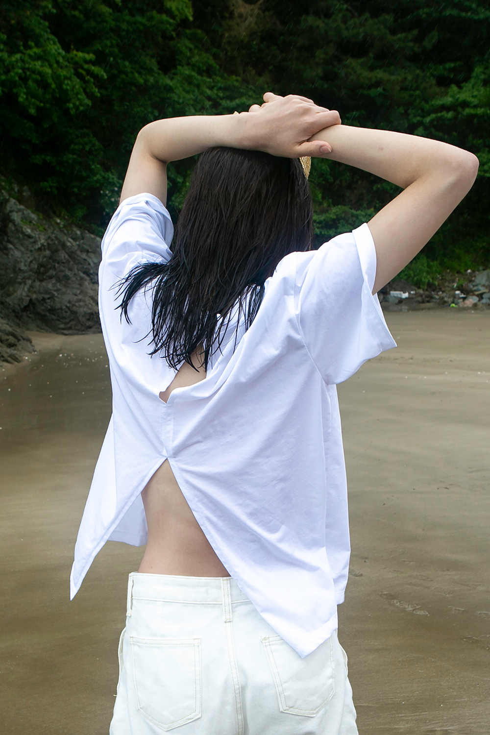 Back Slit T-Shirt White