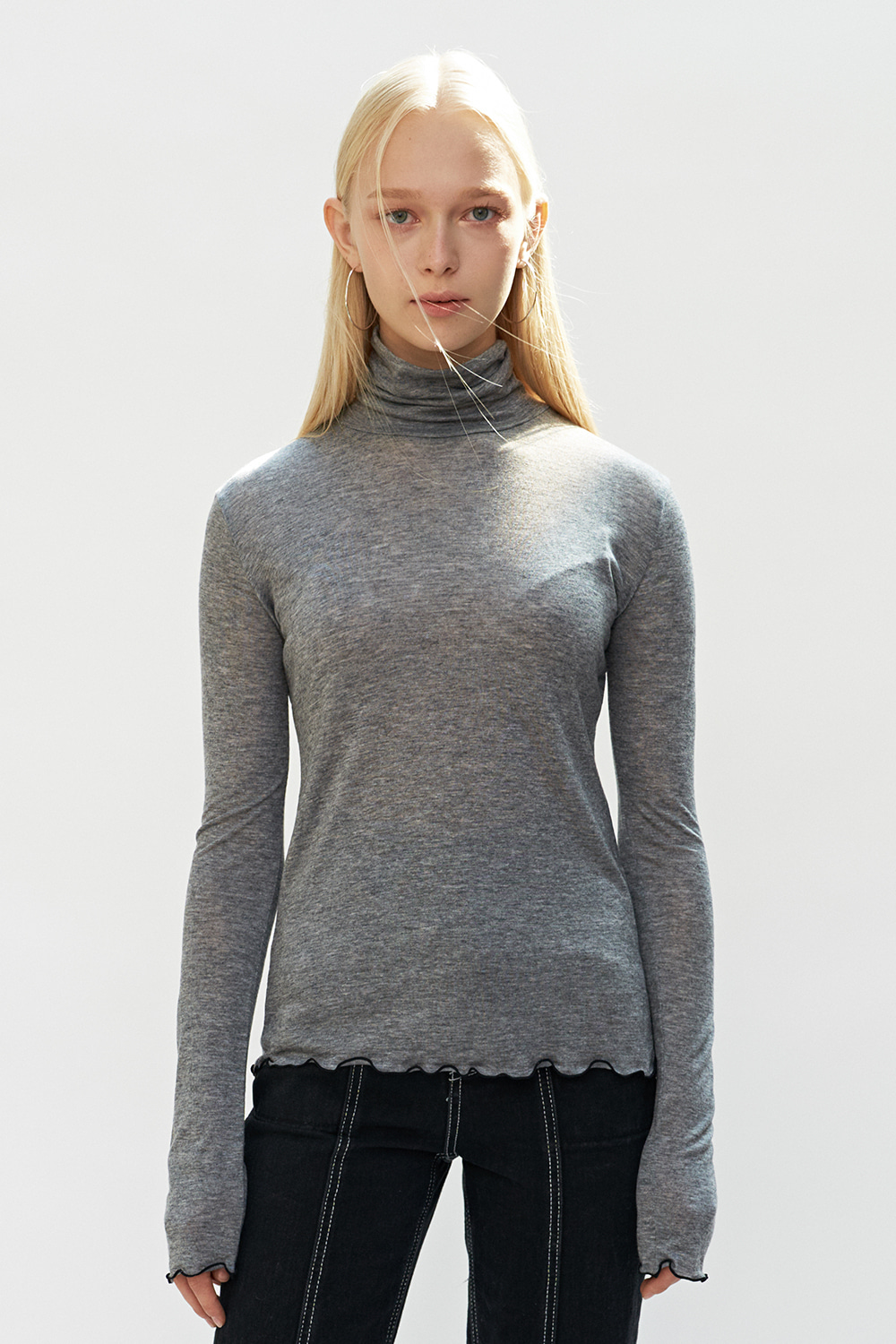 Wave Point Turtleneck T Gray