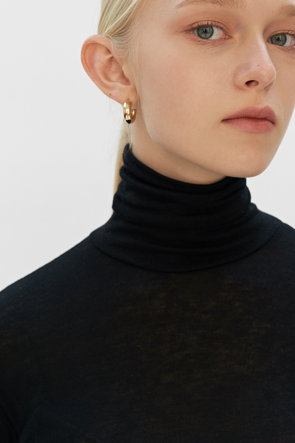 Wave Point Turtleneck T Black