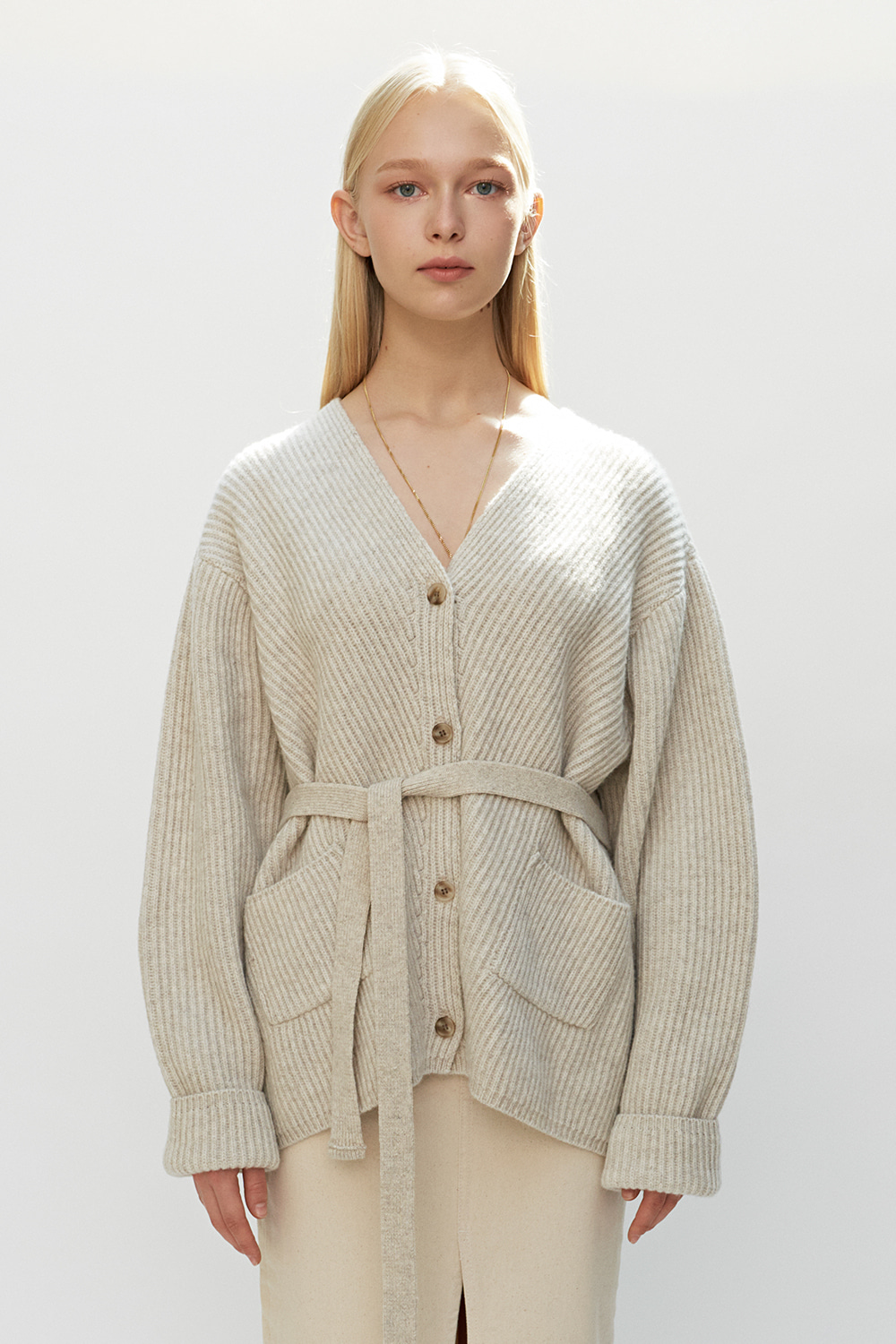 Belted Knit Cardigan Oatmeal
