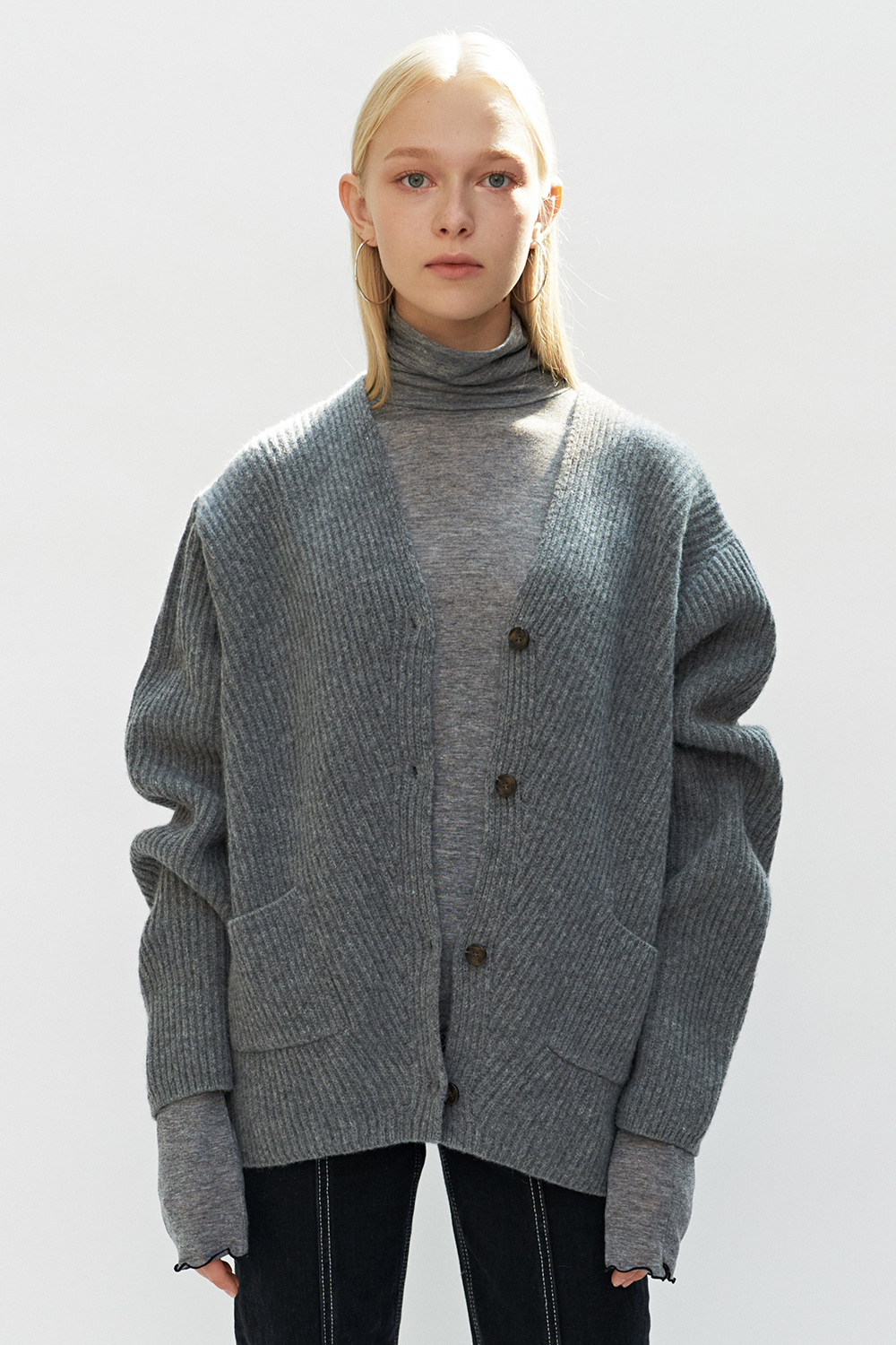 Belted Knit Cardigan Gray