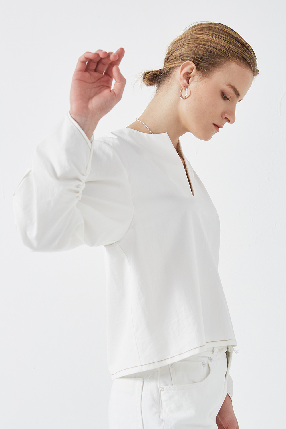 Shirring Detail Blouse Off White