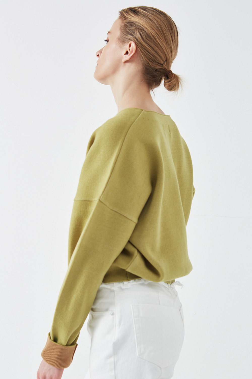 Drop Shoulder Cardigan Olive