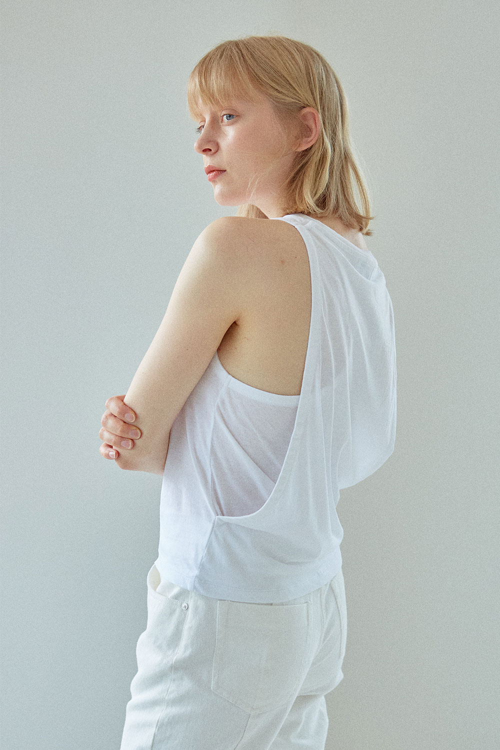 Layered Sleeveless T-shirt White