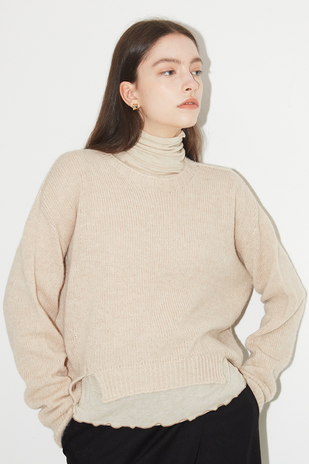 Wholegarment Basic Knit Melange Beige