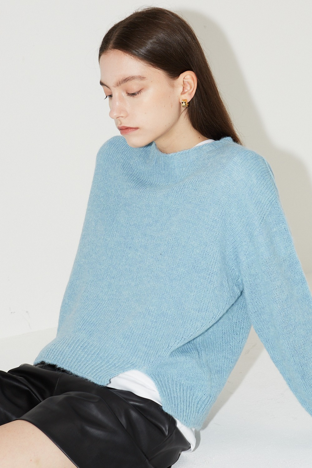 Wholegarment Basic Knit Melange Blue
