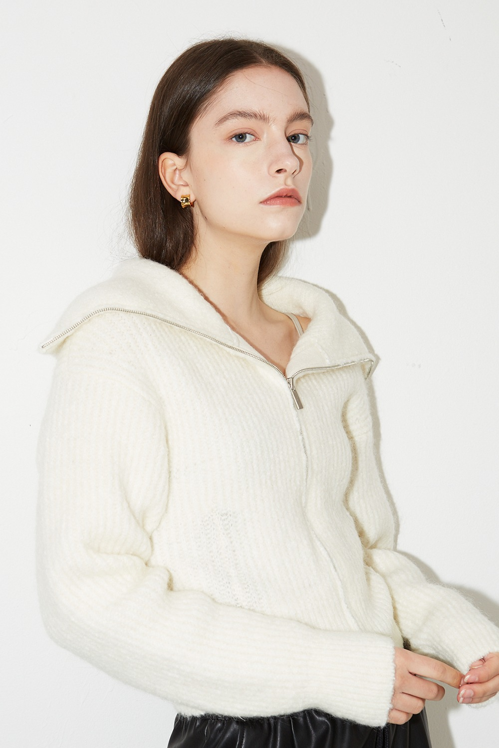 Mohair Sailor Zipup Knit Ivory